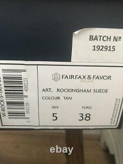 Fairfax Et Faveur Rockingham Cowboy Boot Tan Taille 5/38 Marque Nouveau Jamais Porté