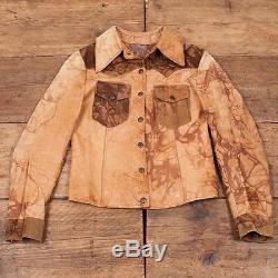 Femmes 1970 Vintage Tan Brown Western Suede Veste En Cuir Petite 8 R2970