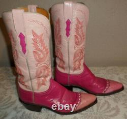 Femmes 7-b Lucchese 1883 Cuir Rose Chaud & Bottes De Cowboy D'autruche Euc