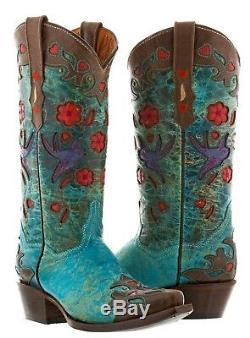 Femmes Brown Turquoise Robin Cuir Rodéo Western Cowgirl Cowboy Bottes Fleurs