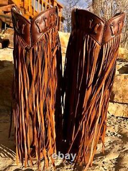 Femmes Corral Fringe À Crampons Brownbottes De Jeune Fille C2986 Nwob Taille 8,5