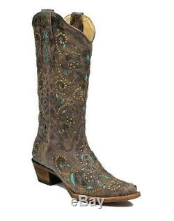 Femmes Corral Western Boot Distressed Brown Cratère Turquoise Inlay & Goujons A1099
