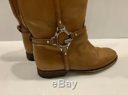 Femmes Gucci Bottes D'équitation En Cuir Charlotte Cuissardes Gg Logo Chaussures Brown Sz 38