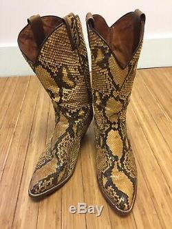 Femmes Sauvages Vintage Personnalisés Jaune Brown Peau De Serpent Python Bottes Cowboy 9.5 Espagne