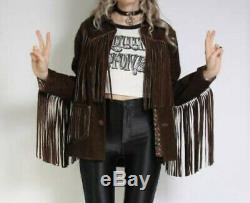 Femmes Vintage Brown Suede Veste En Cuir Pour Femmes Autochtones Fringe Western Wear Manteau