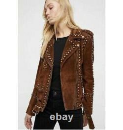Femmes Western Suede Leather Jacket Free People Studded Easy Native Americans