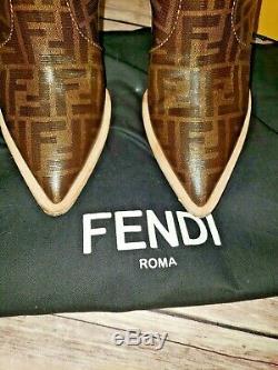 Fendi Grand Ff Logo Monogram Womens Bout Pointu Santiags Size39 100% Authentique