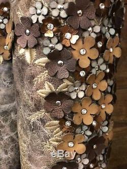 Floral Corral Femmes Tabac Overlay Snip Toe Western Bottes A3602 De Vente