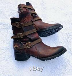 Freebird Apex Femmes Taille 9 Cognac En Cuir Boot Moto Buckled Distressed 350 $