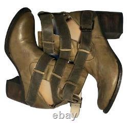 Freebird Boucle À Roulettes Brown Khaki Cuir Bottes D'équitation Occidentale Taille 8
