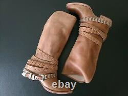Freebird Par Steven Dante Fashion Vintage Distressed Leather High Boot Tan Sz 10