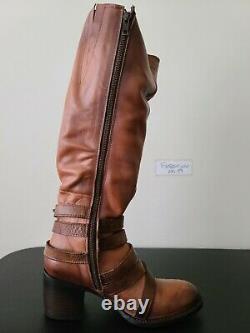 Freebird Par Steven Jules Fashion Vintage Distress Leather Tall Buckle Boot Sz 8