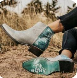 Freebird Par Steven Rule Boot Grey Turquoise Croc Boot. Sz 11 Tts Nib Rare