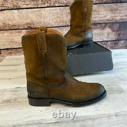 Frye Hommes Duke Roper Western Boot Blé Taille 9,5 M Brown Leather Retail 398 $
