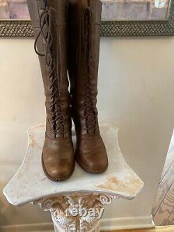 Frye Villager Lacent Zip Distressed Brown Bronze Bottes En Cuir Nous 9m Hot 380 $