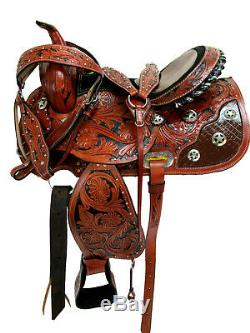 Gaited Selle Western 16 15 Pleasure Horse Show Trail Tooled Cuir Tack Set