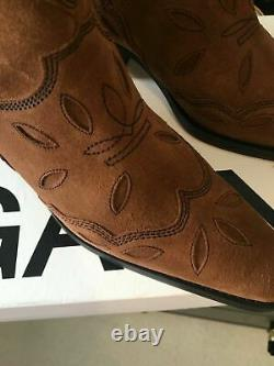 Ganni Brown Suede Low Texas Cowboy Ankle Bottes Uk 5