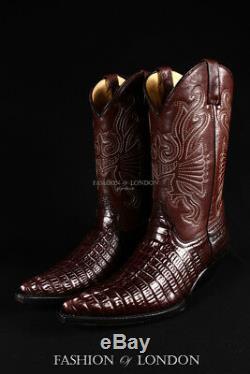 Grinders Hommes Caroline Brown Crocodile Cowboy Occidental En Cuir Croc Bottes Veau