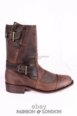 Grinders Hommes Route 66 Brown Biker Motorcycle Cowboy Mid-calf Leather Boots