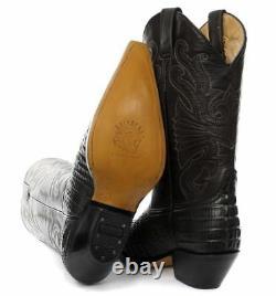 Groseilles Carolina Croc Noir Cuir Crocodile Tail Boot Cowboy Bottes De L'ouest