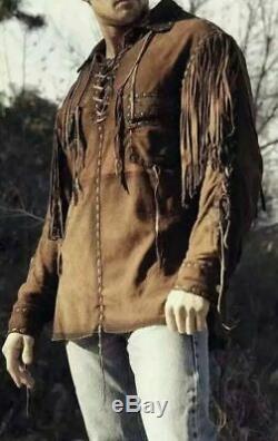 Hommes Amérindien Buckskin Cuir Occidental Porter Un Vêtement Avec La Veste Fringe