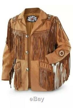 Hommes Brown Suede Western Cowboy Style Veste En Cuir Avec Le Travail Fringe & Pain