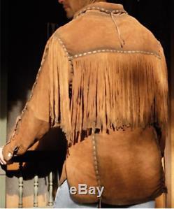 Hommes Brown Suede Western Cowboy Veste En Cuir À Franges