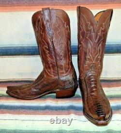Hommes Lucchese Brown Ostrich Jambe / Bottes De Cowboy En Cuir 9 Ee Excellent État