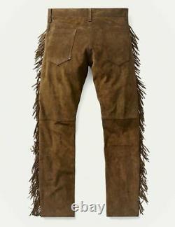 Hommes Native American Brown Cowboy Suede Leather Western Pantalons Avec Des Fringes