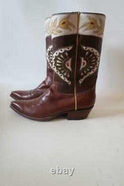 Hommes Rocketbuster Bottes Brown Off-blanc Jaune Bottes De Cowboy En Cuir 10,5