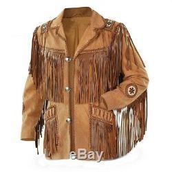 Hommes Suede Western Cowboy Style Veste En Cuir Avec Une Frange Et Travail De La Perle