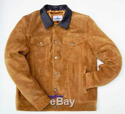 Hommes Tan Trucker Suede Classic Western Denim Style Veste En Cuir Marron Collier
