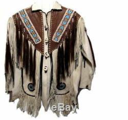 Hommes White & Brown Cowboy Suede Western Wear Veste En Cuir Franges Perles