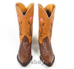 Jurassic Ranch Donna Jean Brown Autruche Cowboy Boots Wm's 7.5b Incrusté Excellent