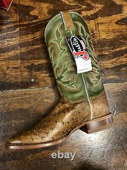Justin Mens Full Quill Autruche Square Toe Size 10.5 D Antique Saddle. USA