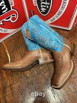 Justin Mens Smooth Autruche Carré Toe Taille 9 D Vintage Brown