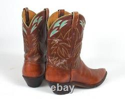 Justin Vintage 60's Brown Cowboy Boots Mns Sz12d Pointy Toes Tall Heels Incrusté