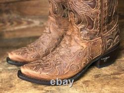 Lane Boots Femmes Robin Dark Brown Floral Overlay Snip Toe Western Boot Lb0237h