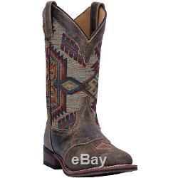 Laredo Femmes Scout Western Cowboy Bottes En Cuir Aztec Cousu Bout Carré Brown