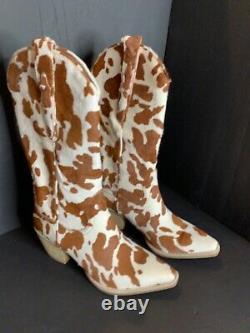 Les Gens Libres Jeffrey Campbell Dagget Véritable Calf Cheveux Boot Western Taille 7.5 Nouveau