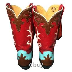 Lucchese 1883 Red Blue Brown Leather Western Cowboy Cowgirl Boots Taille Femme 6