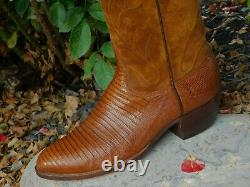 Lucchese Amazing Eye Catching Lizard & Suede Bottes Cowboy Vintage 9.5d