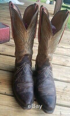Lucchese Bottes De Cow-boy Fille Femme Taille 10 Cuir Marron Or Rouge Piping Shaft