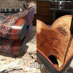 Lucchese Classics Cognac Safari Bottes Cowboy Western Exotique 9 D
