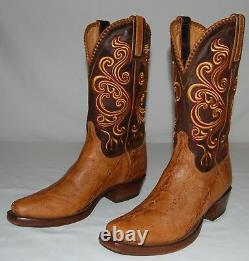 Lucchese Classics Tan Sturgeon Vamps Gy1020 Mens Cowboy Banner Boots Taille 8.5d