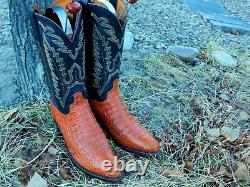 Lucchese Crocodile Caiman Cowboy Bottes 10d Très Agréable! Alligator