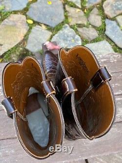 Lucchese Exotique Bias Cut Classique En Alligator Brun Bottes En Cuir Taille 10,5 D