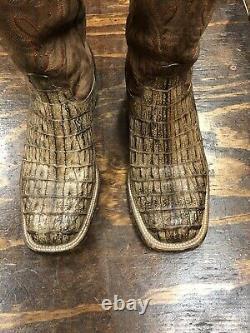Lucchese Men's Boots Tan Burnish Hornback Caiman Square Toe Exotic Size 10,5