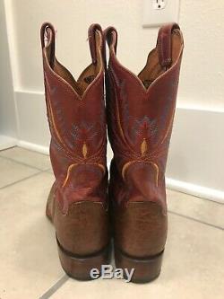 Lucchese Taille 8 B Femmes À Enfiler Western Cowboy Bottes Marron En Cuir Brun Euc