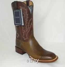 Lucchese Western Cowboy Bond Pieds Carrés Bottes En Cuir Elk 12 11d Nib Main
